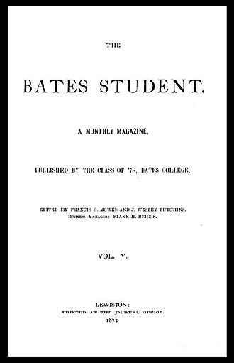 The Bates Student - Bates Student cover from the 1870s