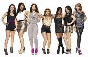 "Bad Girls Club (season 7) - The original seven ""Bad"" Girls of season seven (left to right): Tasha, Nastasia, Angelic, Priscilla, Tiara, Judi, and Shelly"