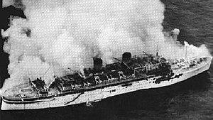 TSMS Lakonia - Aerial photo of the Lakonia burning.