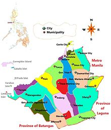 Map of the province of Cavite, which forms the entire jurisdiction of the Diocese of Imus