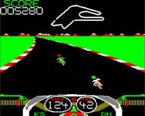 Crazee Rider - Acorn Electron screenshot showing a corner on the Le Mans circuit.