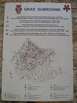 Dubrovnik Shelling (black dots) 1991 to 1992.