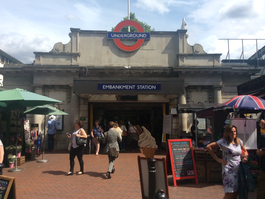 Embankment tube station entrance July 2017.png