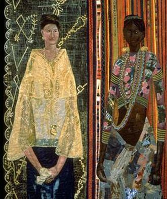 Pacita Abad - Filipina: A racial identity crisis (1990). Acrylic, handwoven cloth, dyed yarn, beads, gold thread on stitched and padded canvass.