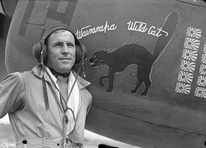 Geoffrey Fisken - Flying Officer Geoff Fisken in front of Wairarapa Wildcat NZ3072/19