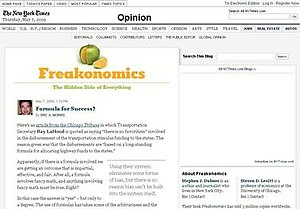 Freakonomics - Screen shot of Freakonomics Blog