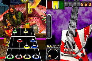 Guitar Hero: On Tour series - Screenshot of the two DS screens during gameplay of Guitar Hero: On Tour. The right screen is presented on the touchscreen side of the DS.