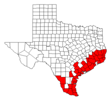 A map of Texas showing the counties with the coastal region and the lower Rio Grande Valley highlighted.