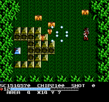 A red character, behind a green forest-like backdrop, fires white bullets at yellow, pyramid-shaped barriers and butterfly-like enemies with a gun.