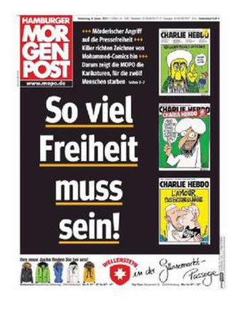 """Hamburger Morgenpost - The front cover of the Hamburger Morgenpost on January 8, 2015, in which satirical Charlie Hebdo images were re-published with the title """"This much freedom must be possible!"""""""