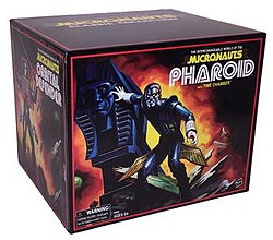 A photo of packaging for Hasbro's limited edition Micronauts Classic Collection action figure set to be released at the 2016 San Diego Comic Con.