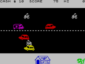 Horace series - In-game screen of Horace crossing the road