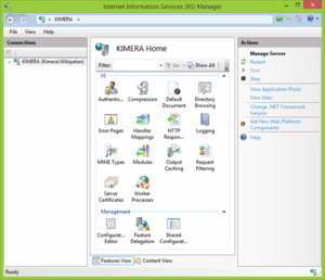 Screenshot of IIS Manager console of Internet Information Services 8.5