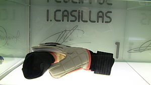 Iker Casillas - Casillas' gloves on display at the Santiago Bernabeu museum
