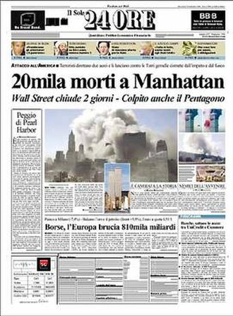 Il Sole 24 Ore - Front page of Il Sole 24 Ore for 12 September 2001