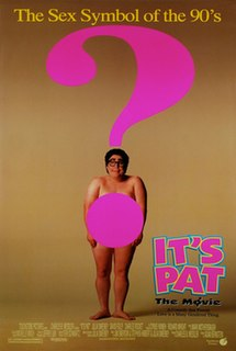 A large person stands naked in the center of the poster with a big pink question mark over their body