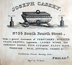 Cassey House - Joseph Cassey's Barber Shop ad, 1832