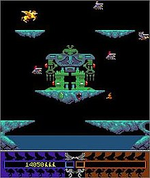 A vertical rectangular video game screenshot that is a digital representation of a fictional world with platforms. A small yellow character on a yellow Pegasus flies around an area populated with floating blue platforms and red and grey knights riding grey buzzards.