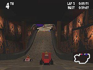 Lego Racers (video game) - Screenshot of a race in Lego Racers, displaying the player controlled racer in the center of the screen as well as the game's HUD