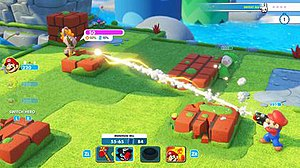 Mario + Rabbids Kingdom Battle - Mario attacking an enemy Rabbid from behind cover