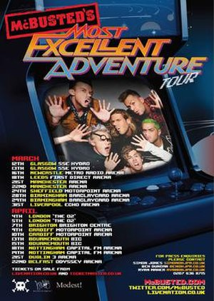 McBusted's Most Excellent Adventure Tour - Official poster for the tour, showing all 21 dates.