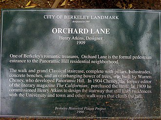 Panoramic Hill, Oakland/Berkeley, California - Historical Plaque at the Entrance to Orchard Lane, The Pedestrian Entrance to The Panoramic Hill Neighborhood