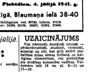 Pērkonkrusts - Call for Pērkonkrusts members to join the Arajs Commando, published in the German-controlled newspaper Tēvija on 4 July 1941.