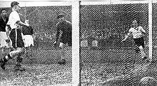 Черно-белая фотография из газеты: сделана из-за левой стойки ворот вратаря, справа на переднем плане изображен футбольный мяч;  Слева виден футболист ассоциации в белой рубашке и черных шортах.