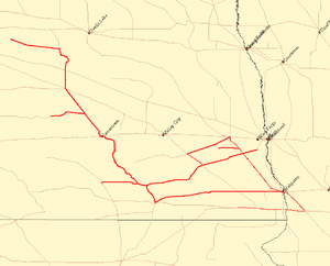 Red River Valley and Western Railroad - Image: RRVW Map
