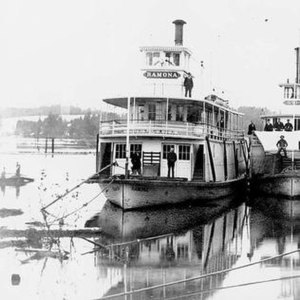 Ramona (sternwheeler 1892) - Ramona is the larger vessel on the left. Gypsy is shown in part on the right.