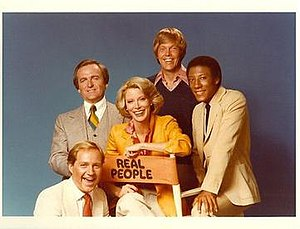 Real People - Cast photo from left to right: Bill Rafferty (Bottom Left), John Barbour (Top Left), Sarah Purcell (Middle), Skip Stephenson (Top Middle) and Byron Allen (Top Right)