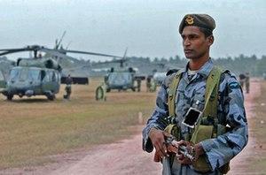 Sri Lanka Air Force Regiment - SLAF Regiment gunner on guard duty.