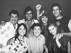 Safe at Home (TV series) - Season 3 main cast of Safe at Home  (Front row, l–r) Katherine Britton, Richard Horvitz, Brenda Klemme. (Back row, l–r) Vic Dunlop, Gary Hudson, Jeanna Michaels and Michael J. Cutt.