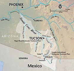 Map Of Arizona To Mexico.Santa Cruz River Arizona Wikipedia