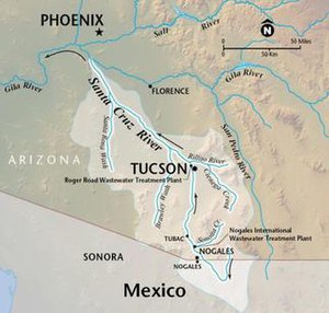 Santa Cruz River (Arizona) - Image: Santa Cruz River Arizona Map
