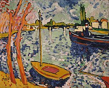 An impressionist painting of boats on a river.