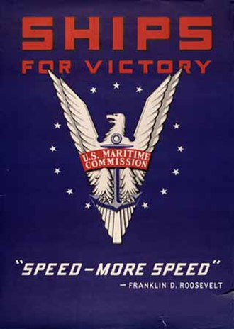"Emergency Shipbuilding program - U.S. Maritime Commission ""Ships for Victory"" emblem"