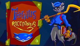 "Sly Cooper and the Thievius Raccoonus - Sly Cooper holds the recovered ""Thievius Raccoonus"" from a cutscene within the game."