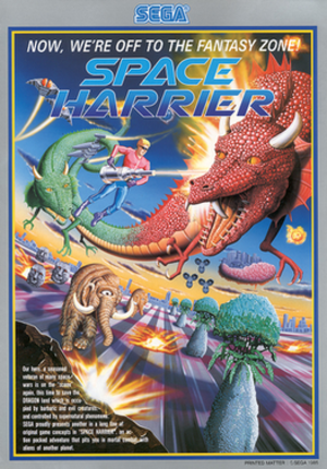 Space Harrier - 1986 European arcade flyer, featuring title protagonist Harrier battling several enemies that appear in the game.