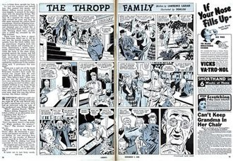 Liberty (general interest magazine) - Interior spread of Liberty (December 7, 1946) shows the continuing comic strip The Thropp Family by Lawrence Lariar, Don Komisarow and Lou Fine.