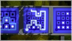 The Witness (2016 video game) - A puzzle in The Witness, in which the player must separate fields with white from those with black dots while tracing a single path through the maze. This puzzle is part of a sequence of puzzles (seen on the left and right) that teach this mechanic to the player.