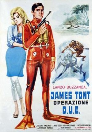Eurospy film - James Tont operazione D.U.E. (1966) film poster spoofs the 007 hit Thunderball.