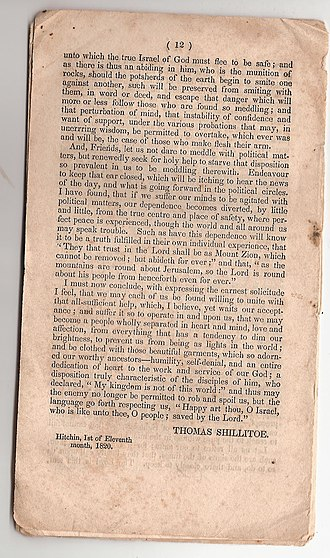 Tract (literature) - Page from a tract by Thomas Shillitoe