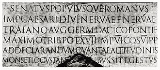 History of Western typography - Roman inscriptional capitals on the base of Trajan's Column, c. 113.