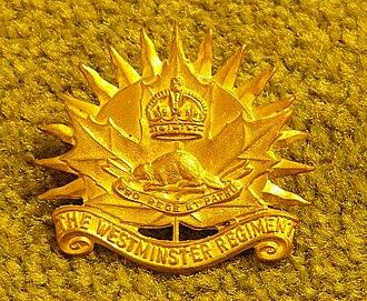 Royal Westminster Regiment - Image: Westminster Regiment Hat Badge