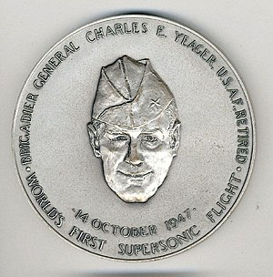 Congressional Silver Medal - Congressional Silver Medal awarded to Brig. Gen. Charles Yeager in 1976. (front)