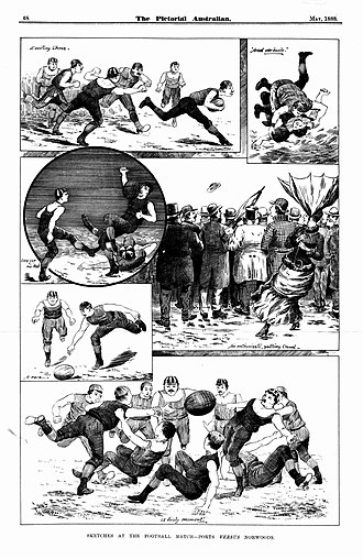 Norwood–Port Adelaide rivalry - 1888 sketches from The Pictoral Australian covering the recent Port Adelaide vs. Norwood match at Adelaide Oval.