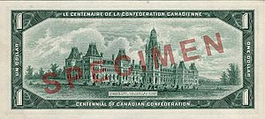 Commemorative banknotes of the Canadian dollar - The obverse (top) and reverse (bottom) of the Canadian Centennial $1 banknote, version with regular serial numbers.