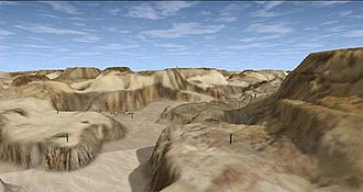 Delta Force 2 - A view of the voxel terrain taken while parachuting.