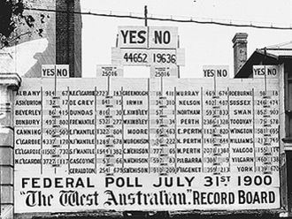 Secessionism in Western Australia - Record board of the West Australian showing results for the Popular Referendum on Australian Federation, 31 July 1900.